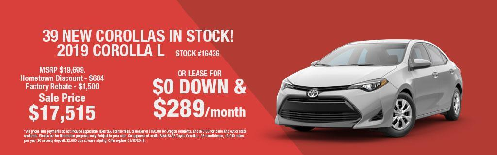 2019 Toyota Corolla L Lease Special