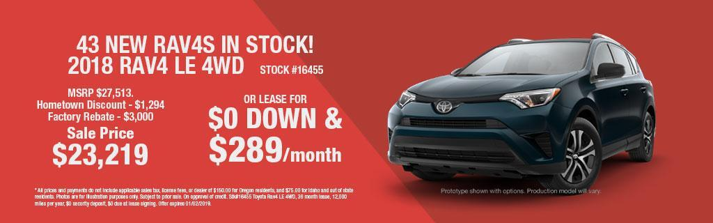 2018 Toyota RAV4 LE Lease Special