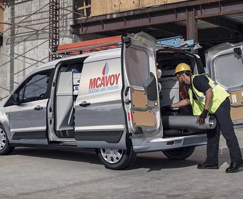 2020 Ford Transit Van on construction site