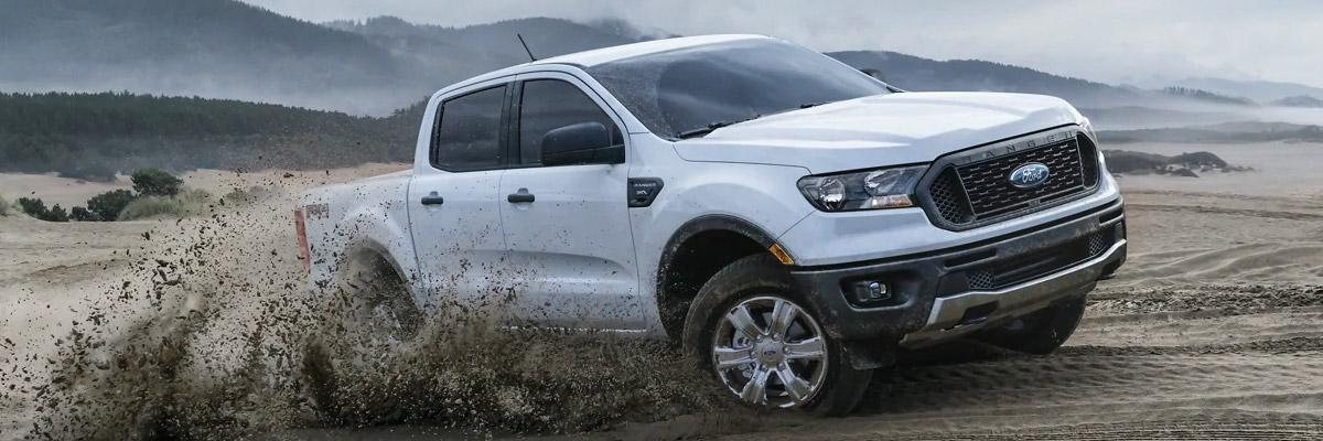 Ford Ranger XL SuperCrew  in Oxford White with FX4 Off-Road Package and STX Appearance Package.