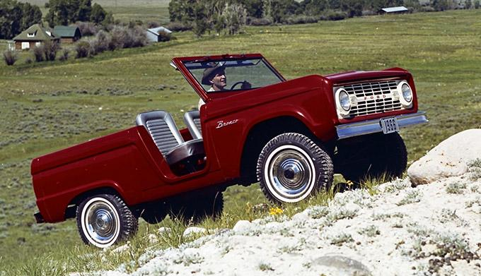 1966 Ford Bronco Roadster in Rangoon Red.