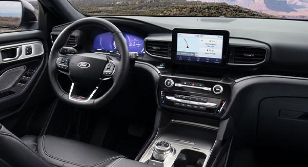 Interior view of the 2021 ford explorer ST leather seating surfaces with micro perforation and accent stitching