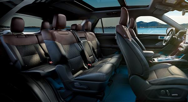 Side view of 2021 Ford Explorer featuring seven passenger seating